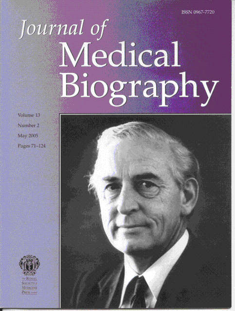 Cover of Journal of Medical Biography May 2005 shows portrait of Sir William Liley from this article